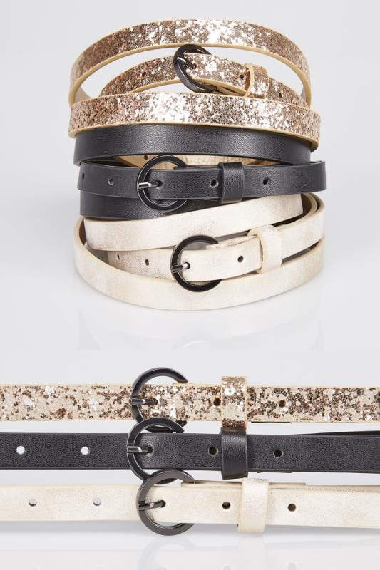 3 PACK Multi & Glitter Skinny Belts
