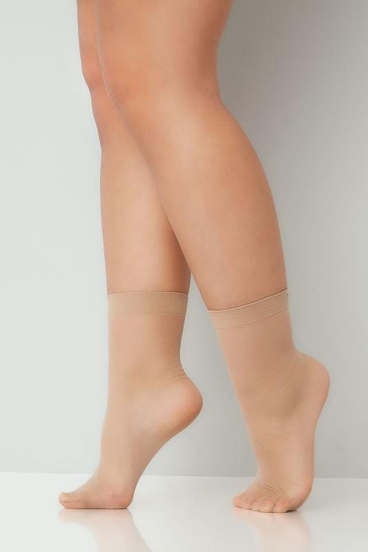 3 PACK Natural Sheer Ankle High Socks With Comfort Top