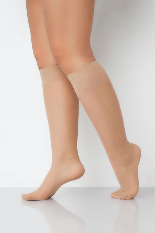 Plus Size Socks 3 PACK Natural Sheer Knee High Socks With Comfort Top