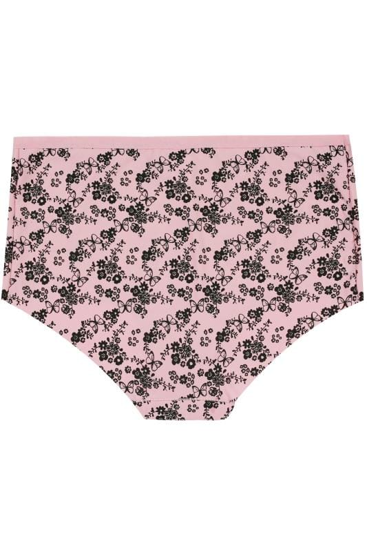 3 PACK Pink & Black Butterfly & Heart No VPL Full Briefs