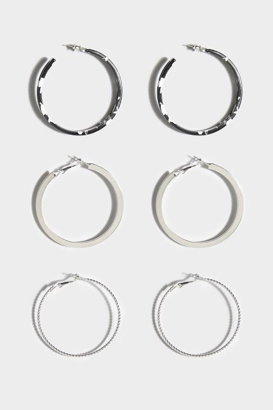 Plus Size Earrings 3 PACK Silver & Acrylic Hoop Earrings