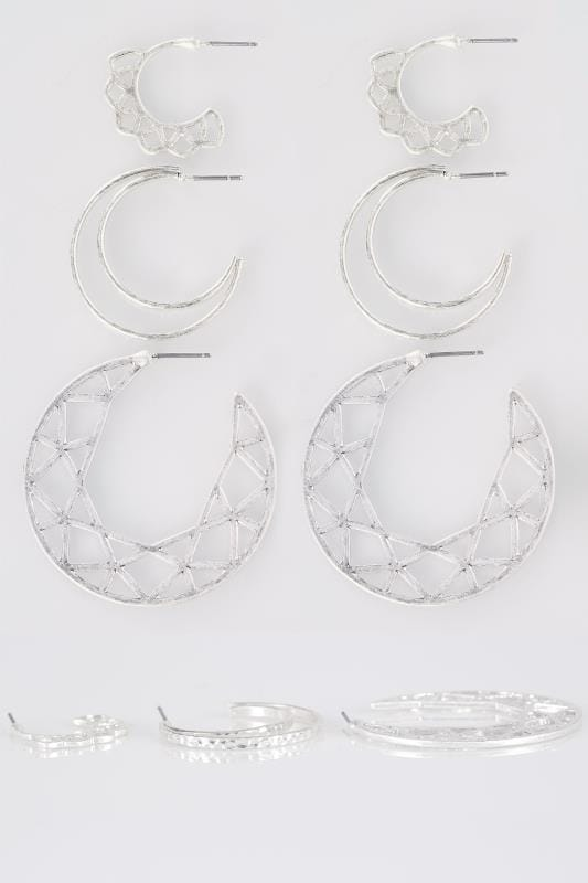 3 PACK Silver Boho Hoop Earrings