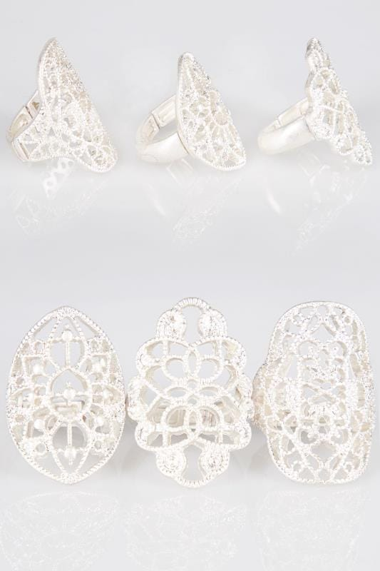 Plus Size Rings 3 PACK Silver Filigree Rings