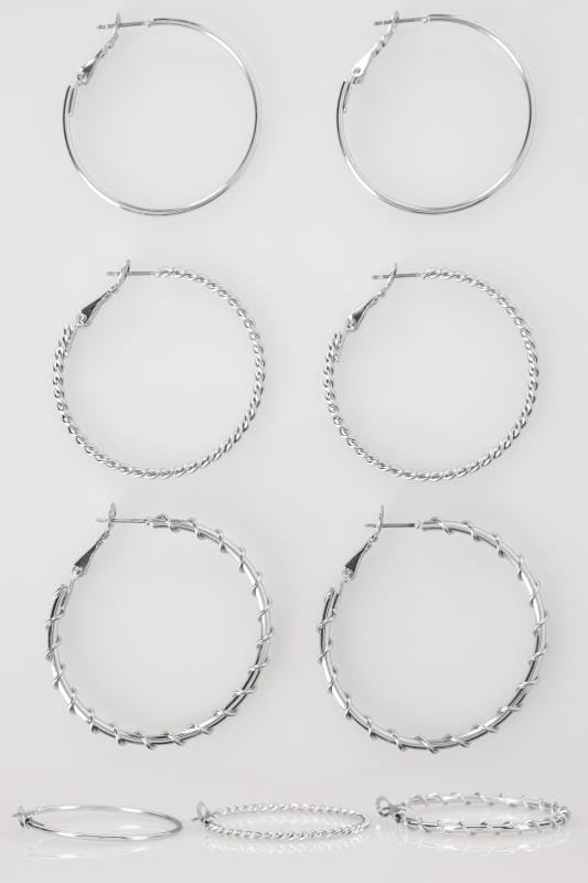 3 PACK Silver Medium Hoop Earrings