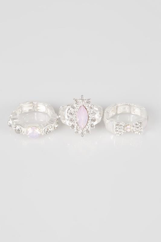 3 PACK Silver Stretch Jewel Embellished Rings With Diamante Detail