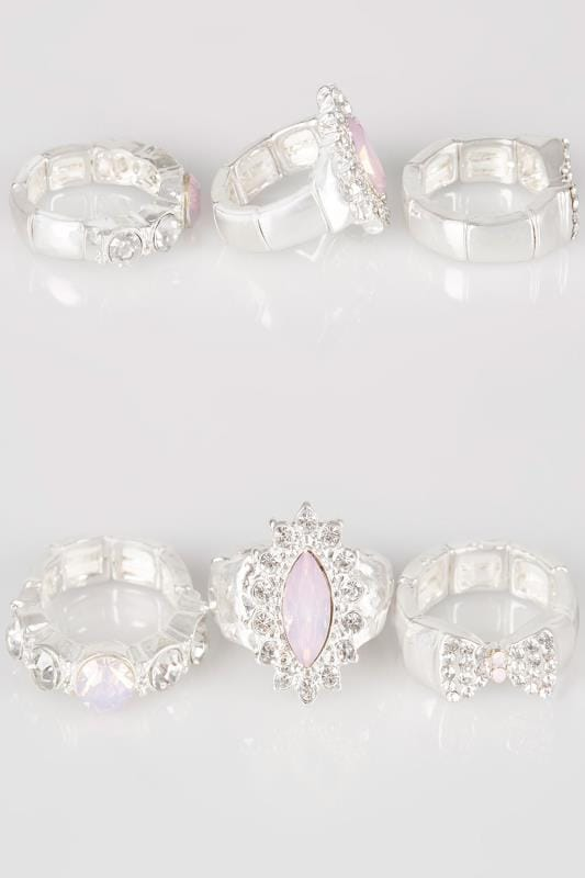 3 PACK Silver Jewel Embellished Rings