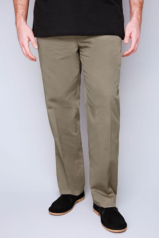 D555 Stone Draw Cord Trousers With Elasticated Waist