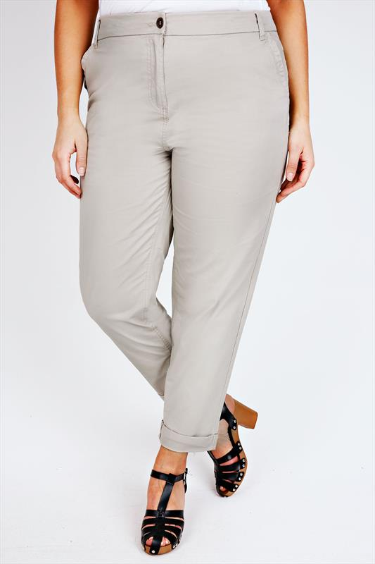 Stone Stretch Chino Trousers With Turn Back Cuffs