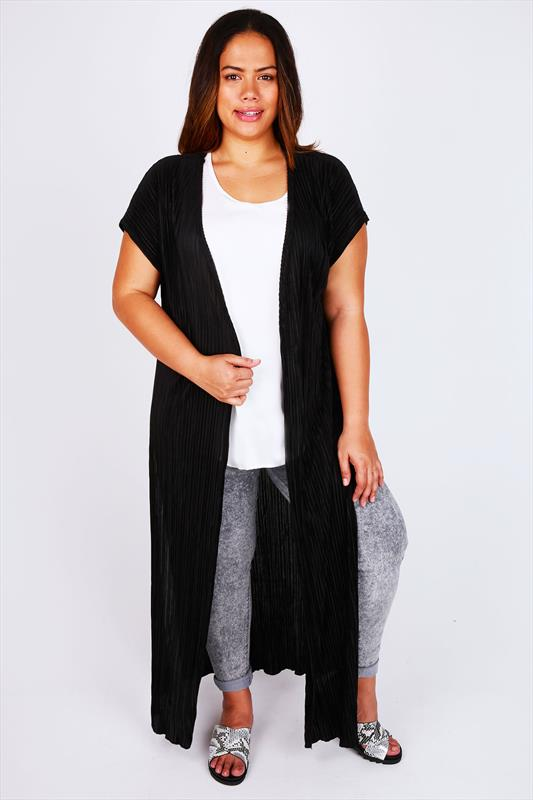 Black Pleated Maxi Cardigan With Side Slits