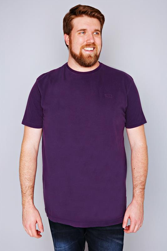 BadRhino Purple Basic Plain Crew Neck T-Shirt