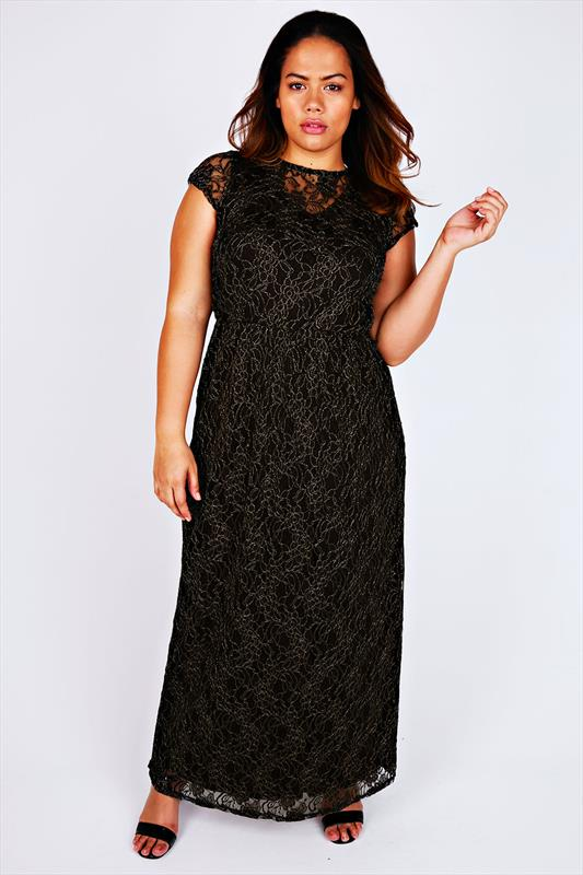 Black & Gold Maxi Dress With Floral Lace Overlay