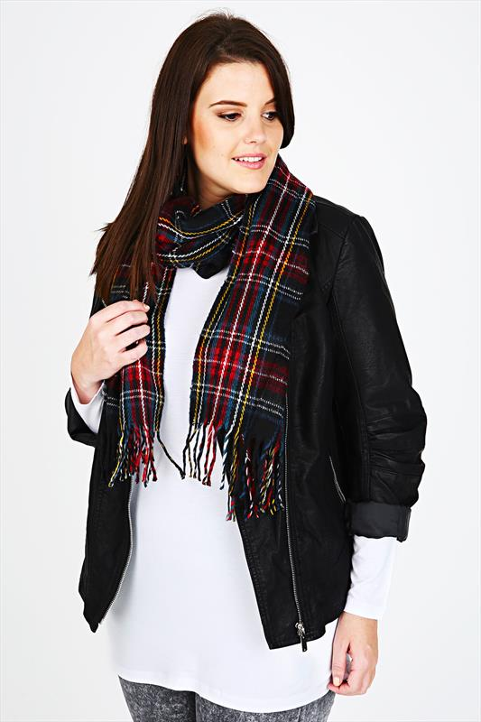 Black & Multi Tartan Soft Brushed Scarf With Fringing