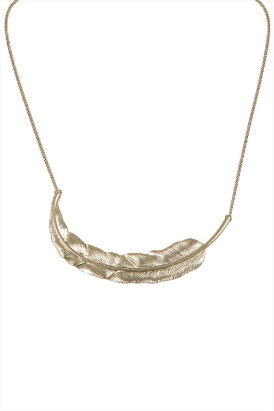 "Gold Long Feather Pendant Necklace With 3.5"" Extension Chain"