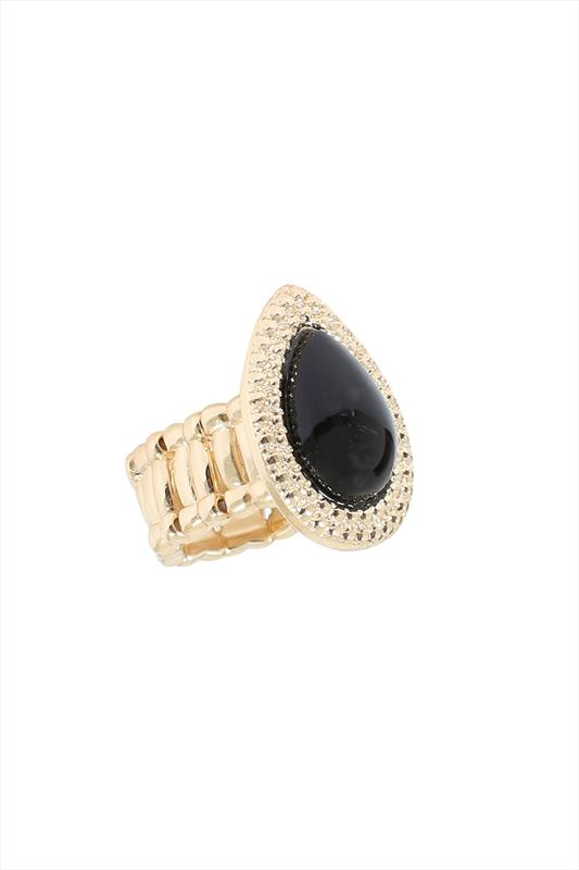 Gold & Black Stone Teardrop Stretch Ring