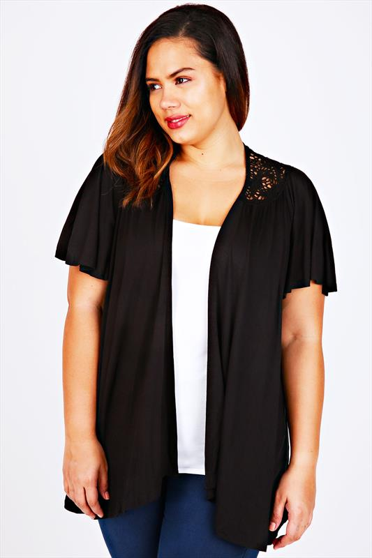 Black Jersey Short Sleeved Shrug With Crochet Detail