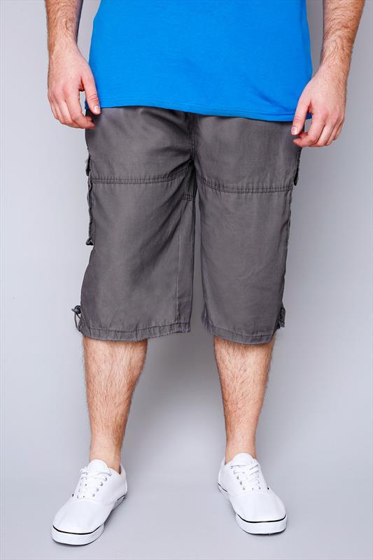 D555 Dark Grey Cargo Shorts With Pockets
