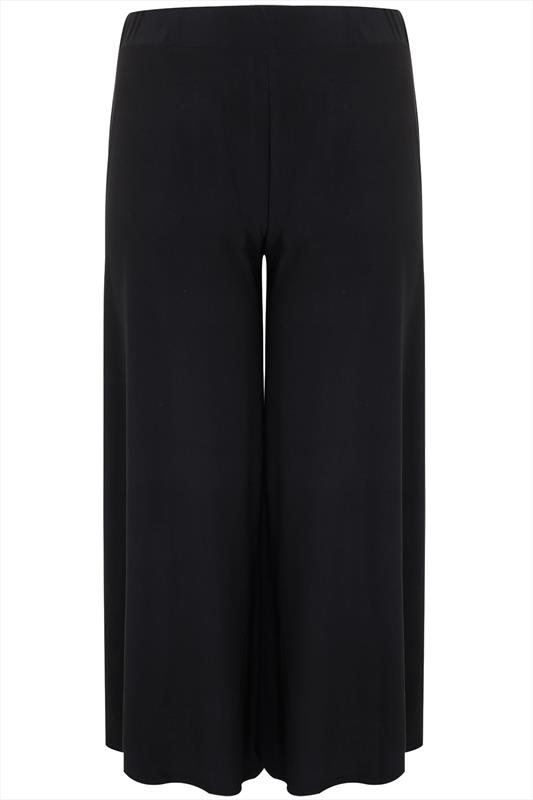 Black Super Wide Leg Jersey Palazzo Trousers Plus Size 16