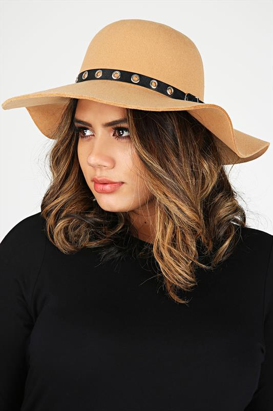 Camel & Black Eyelet Trim Felt Floppy Hat