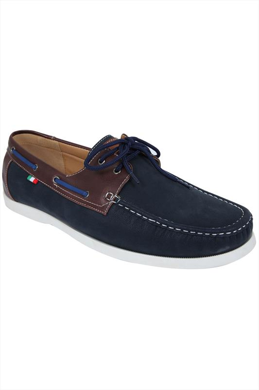 D555 Navy Lace Up Canvas Boat Shoe With Brown Trim