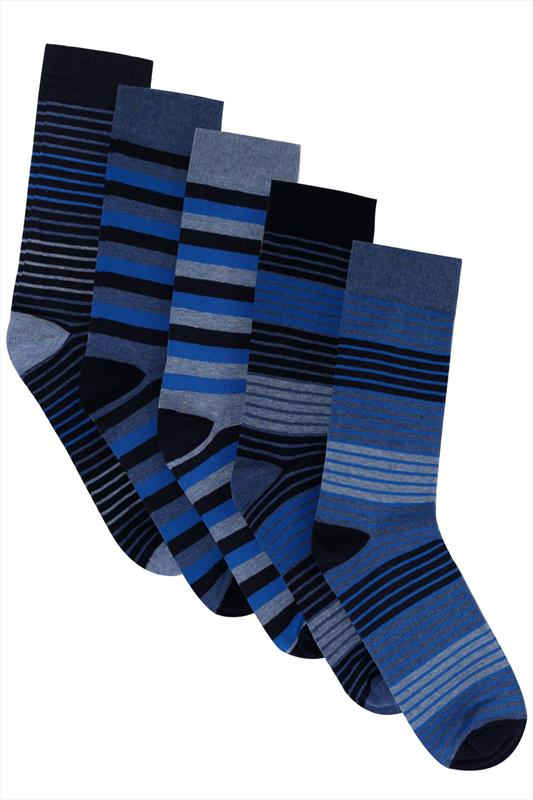 BadRhino Blue Striped 5 Pack Socks