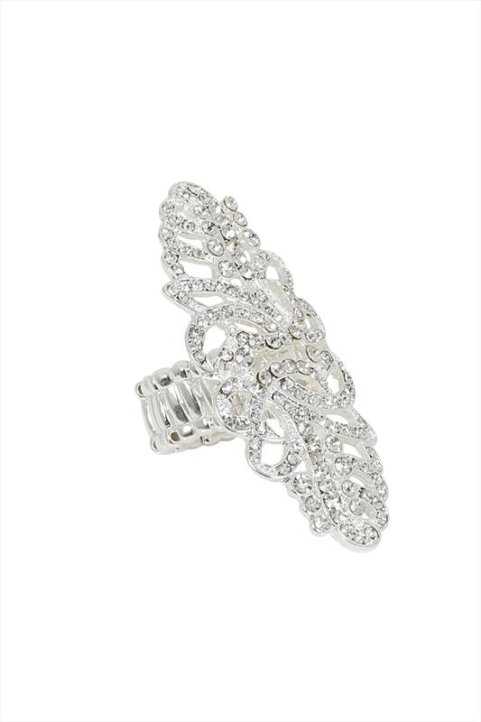 Silver Diamanté Filigree Stretch Ring
