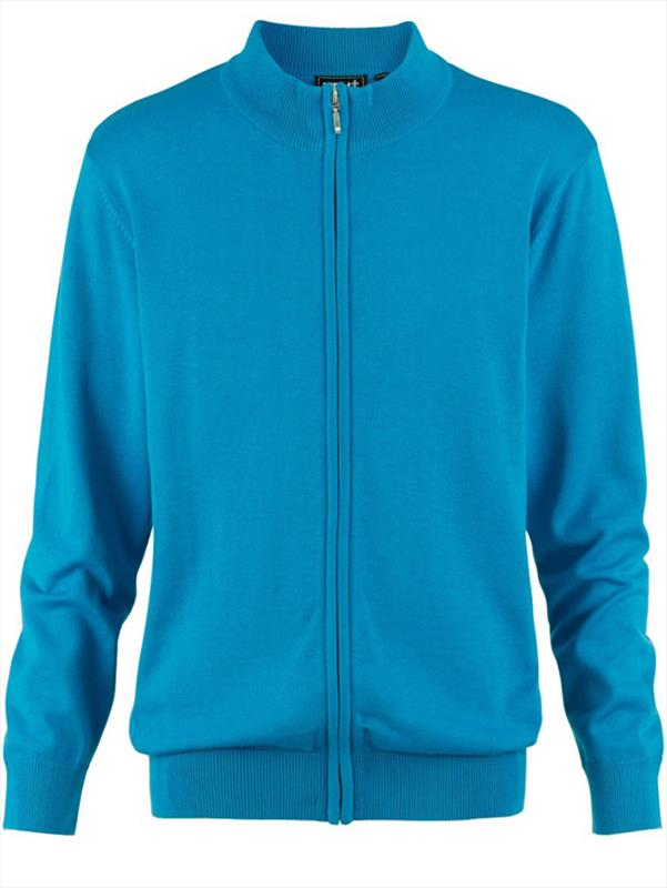 Blue Zip Up Long Sleeve Sweat Top With High Collar