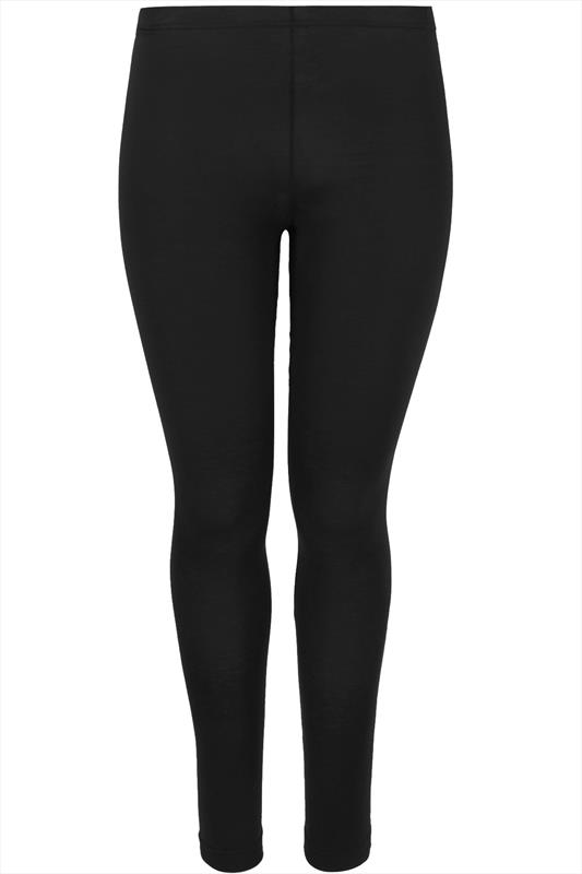 Black Cotton Essential Leggings Plus Size 16 To 32