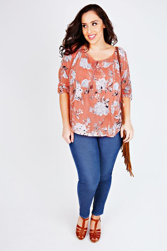 Peach Floral Print Blouse With Tassel Necktie