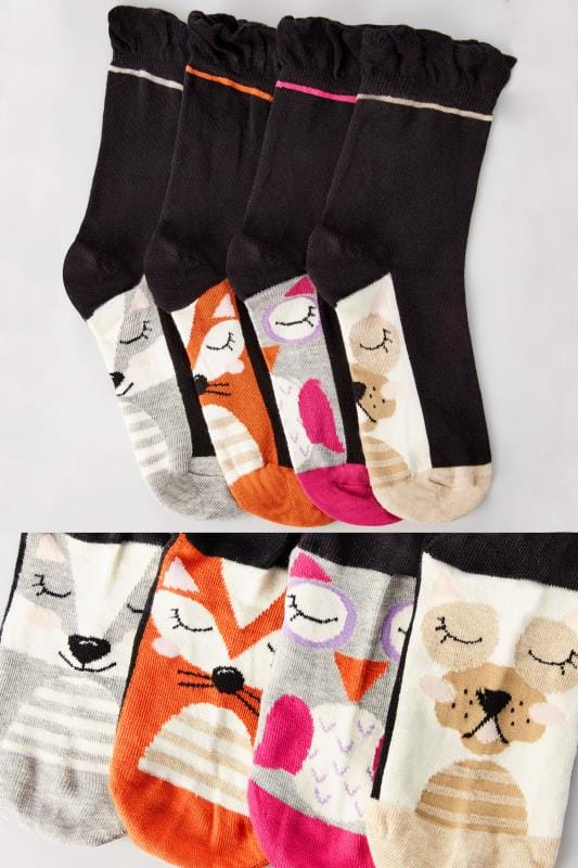 4 PACK Black Assorted Forest Animal Print Socks With Comfort Tops