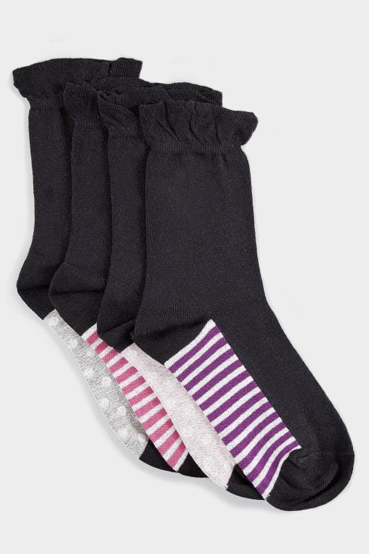 Plus Size Plus Size Socks 4 PACK Black Assorted Spot & Striped Ankle Socks