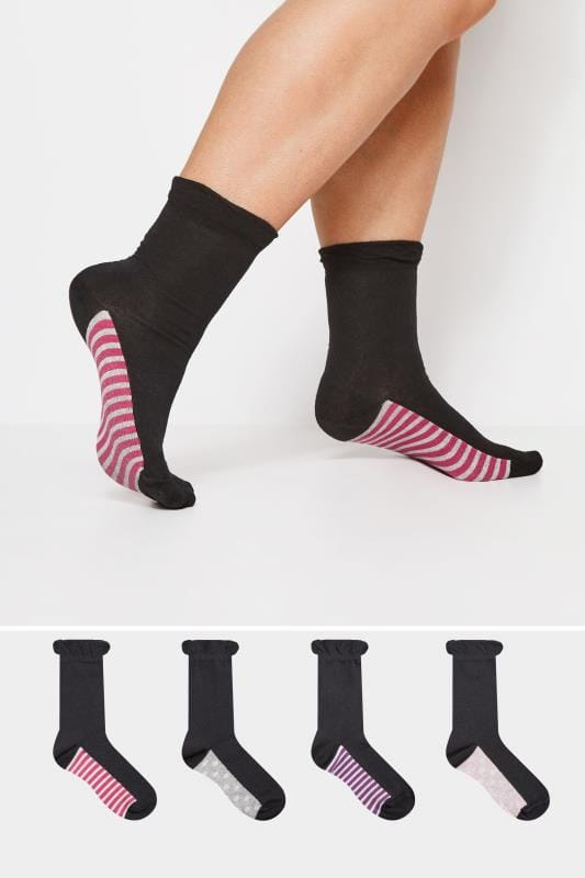 Plus Size Socks 4 PACK Black Assorted Spot & Striped Ankle Socks