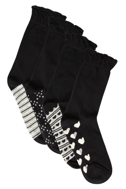 4 PACK Black & Grey Mix Print Footbed Socks