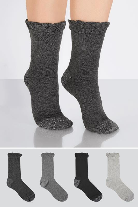Plus Size Socks 4 PACK Black & Grey Socks With Glitter Heel