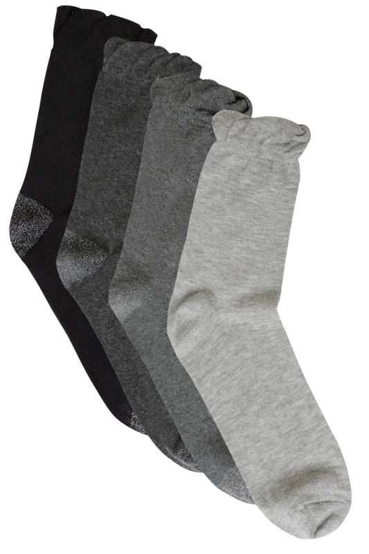 4 PACK Black & Grey Socks With Glitter Heel