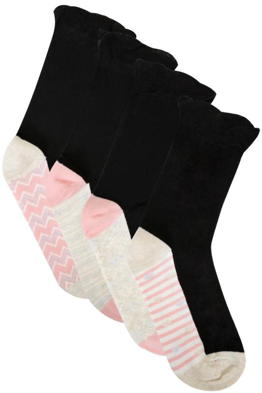 4 PACK Black & Multi Footbed Pattern Socks