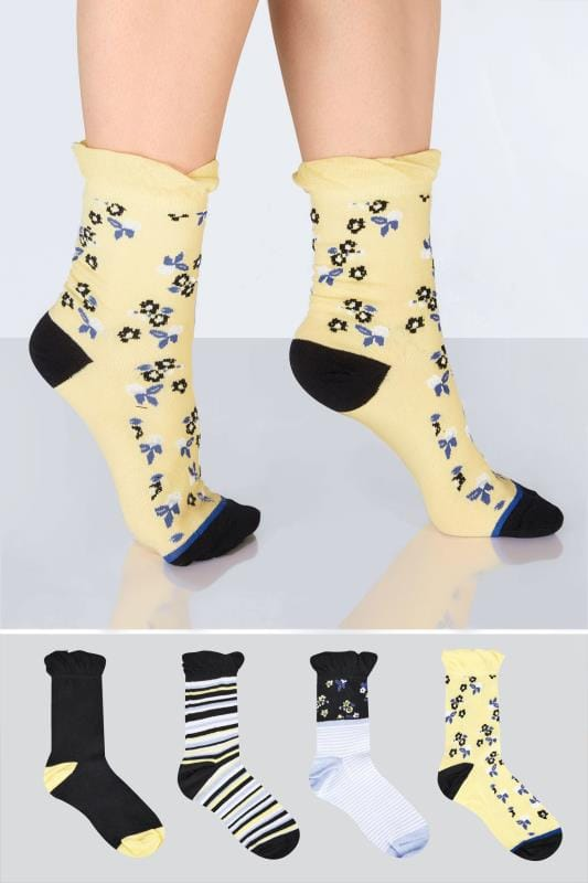 Plus Size Plus Size Socks 4 PACK Black & Multi Stripe & Floral Socks