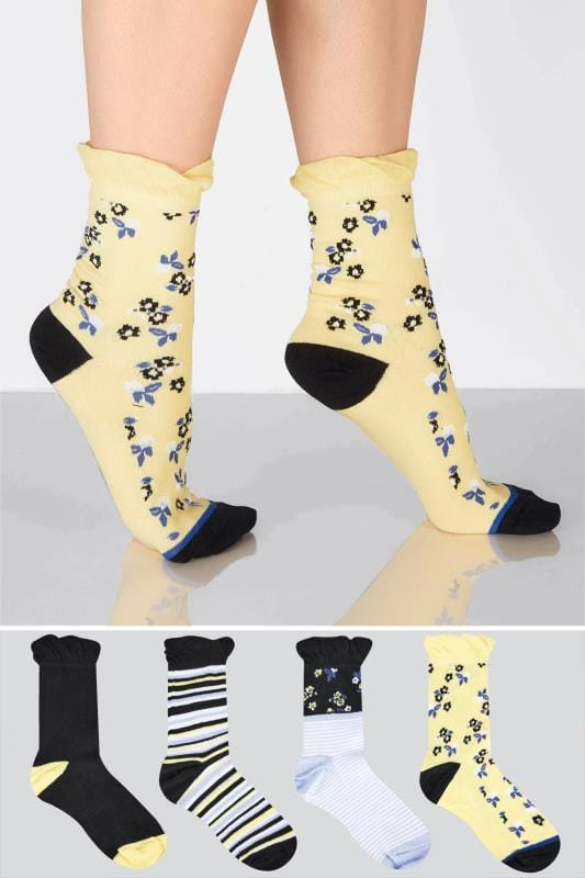 4 PACK Black & Multi Stripe & Floral Socks