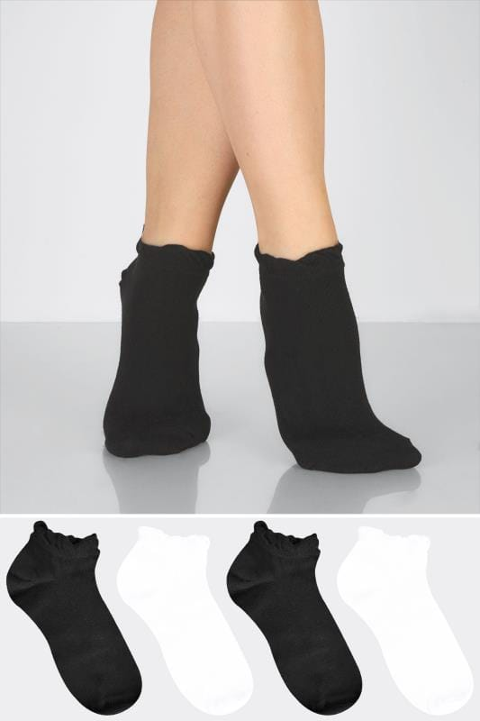 2 PACK Black & White Trainer Socks