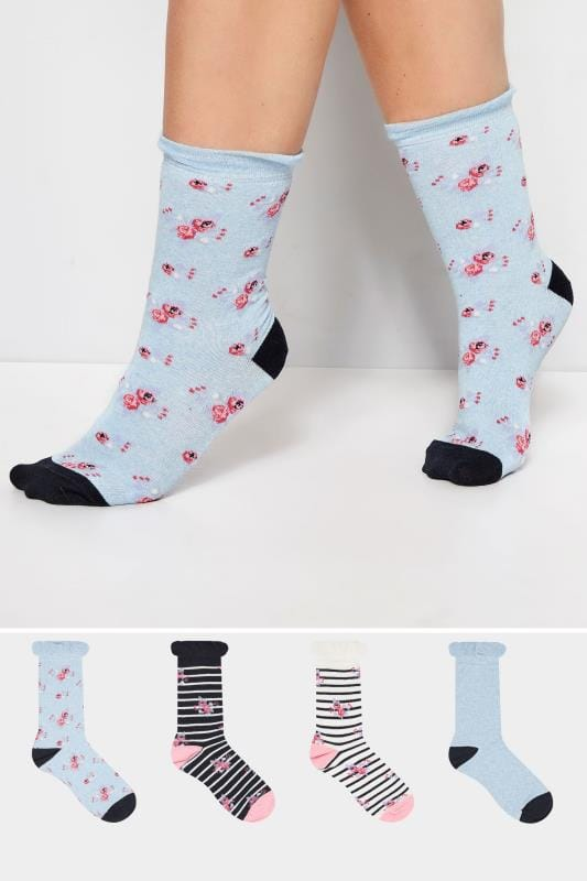 Plus Size Socks 4 PACK Blue Floral Socks