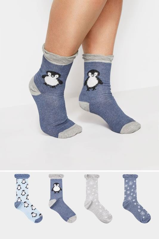 Plus Size Socks 4 PACK Blue Penguin Socks