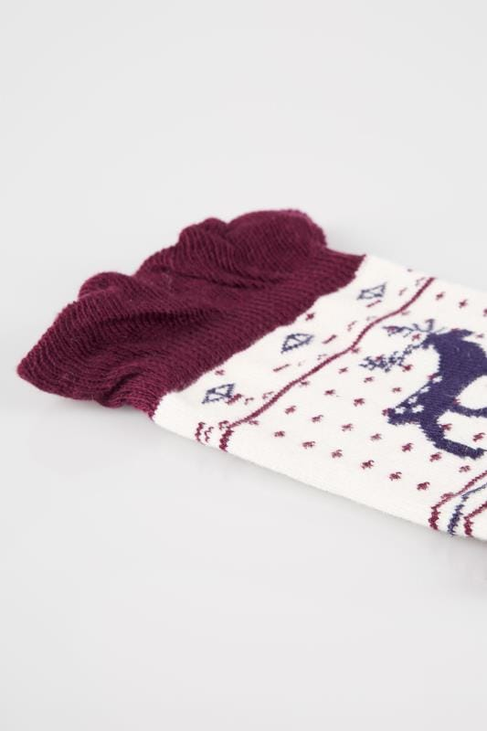 4 PACK Burgundy, Navy & Cream Fairisle Print Socks