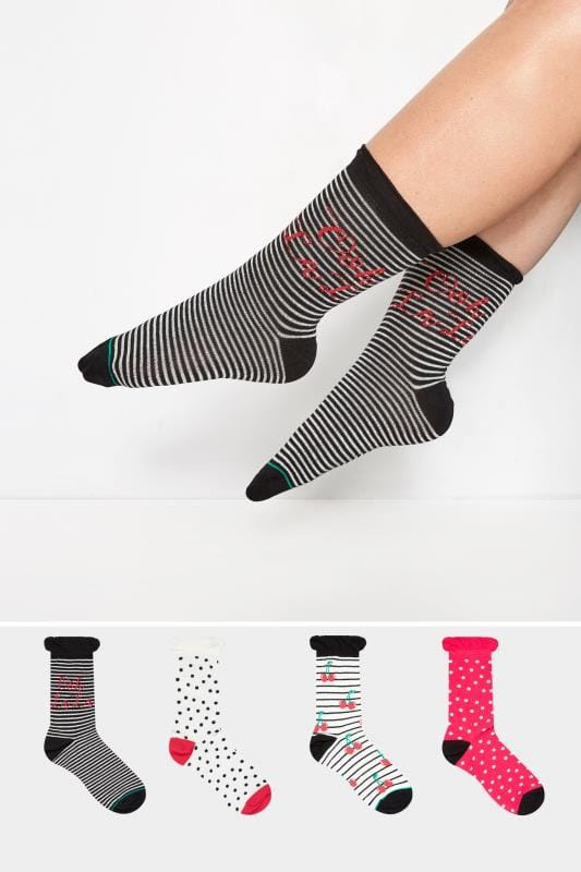 Plus Size Socks 4 PACK Cherry Ankle Socks