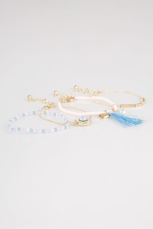 4 PACK Gold & Multi Friendship Bracelet Set
