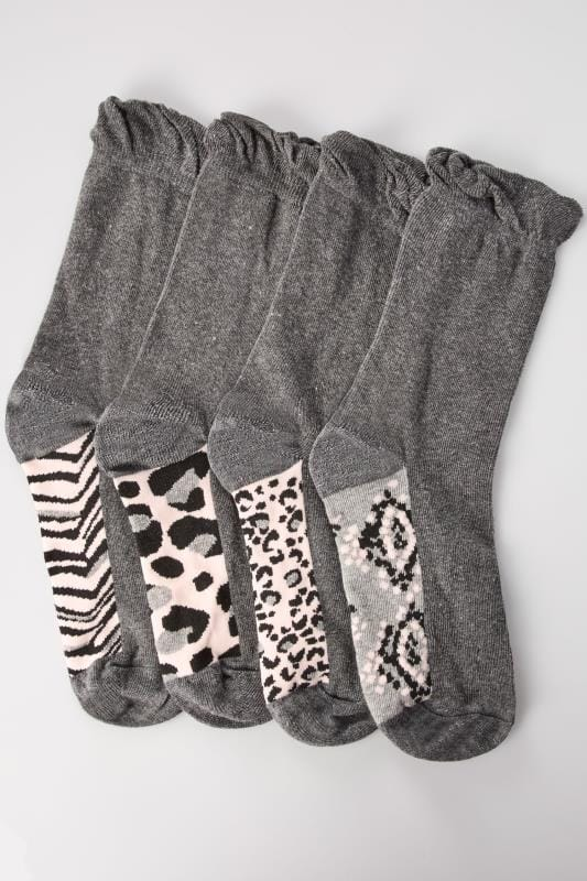4 PACK Grey Assorted Animal Footbed Socks