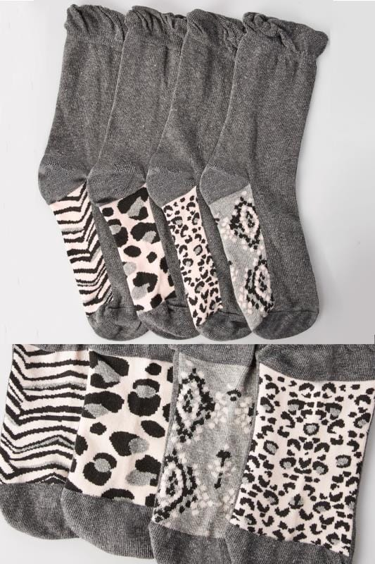 4 PACK Grey Assorted Animal Print Footbed Socks With Comfort Tops