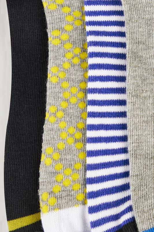 4 PACK Grey, Black, White & Multi Floral Print Trainer Socks
