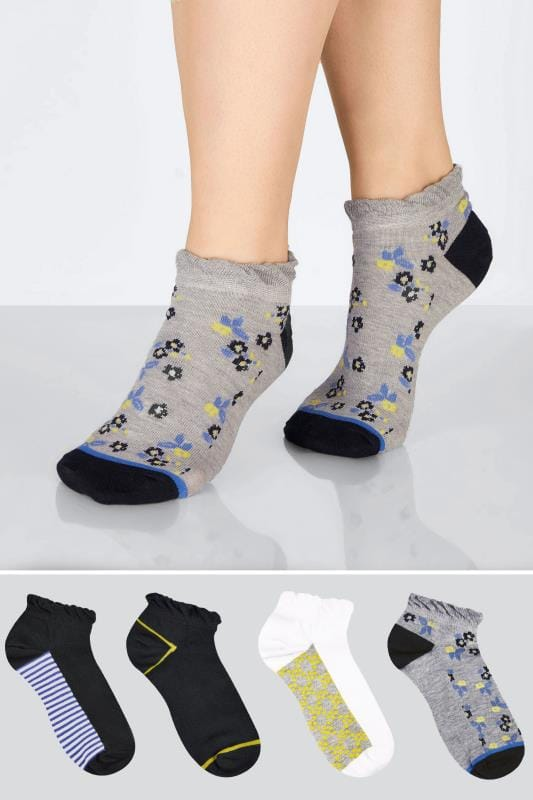 Plus Size Socks 4 PACK Grey, Black, White & Multi Floral Print Trainer Socks