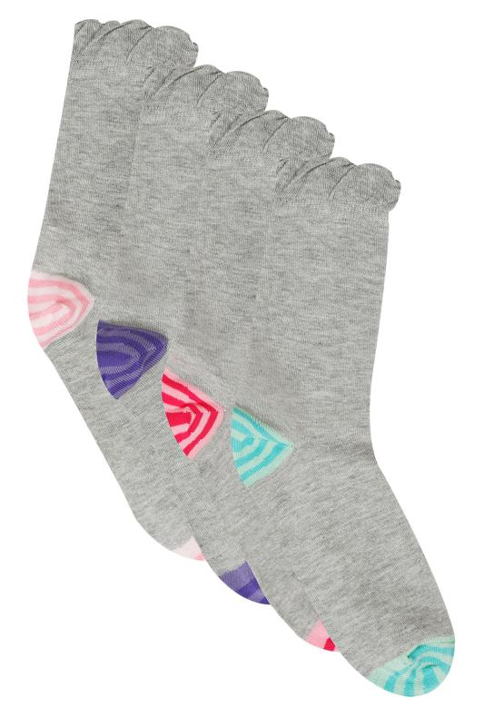 Socks 4 PACK Grey & Colourful Striped Heel Toe Socks In Extra Wide Fit 101362