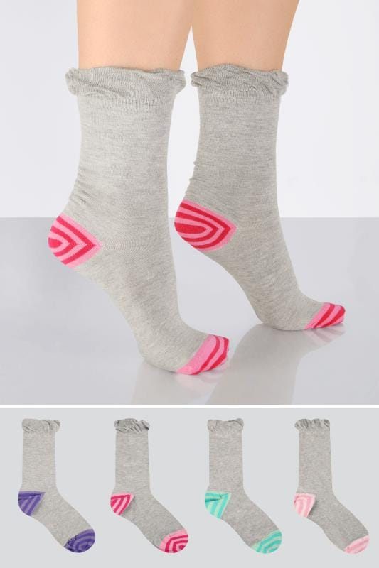 Plus Size Socks 4 PACK Grey & Colourful Striped Heel Toe Socks In Extra Wide Fit
