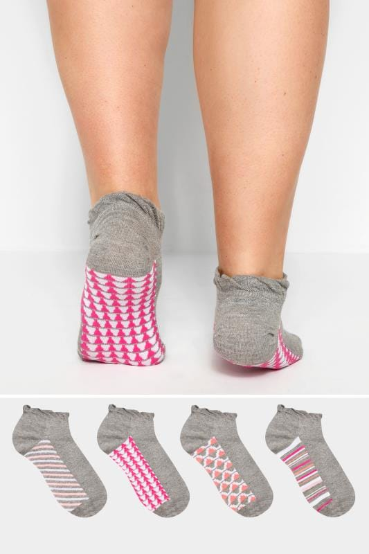 4 PACK Grey & Multi Sparkle Geo Print Trainer Socks